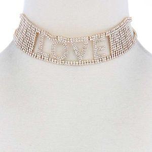 Love Rhinestone Choker Necklace